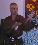 Sensei Judy demonstration open hand.