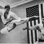 This is a photograph of Ansei Ueshiro flying! The person on his right is Zenko Hashiki. We have photos and paintings next door in the karate museum.